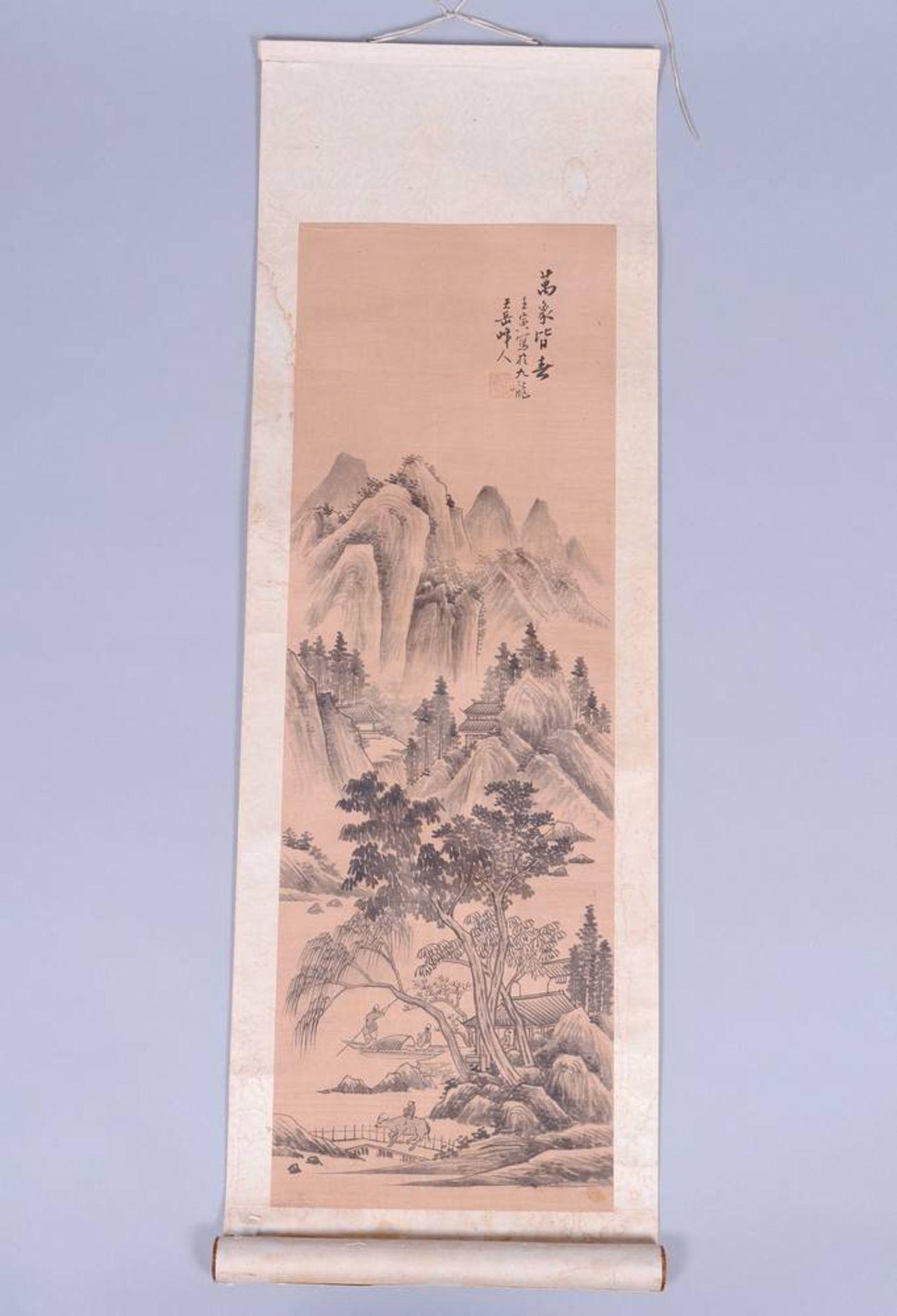 Rollbild, Tusche auf Seide, auf Papier, Japan, Meiji-Zeit