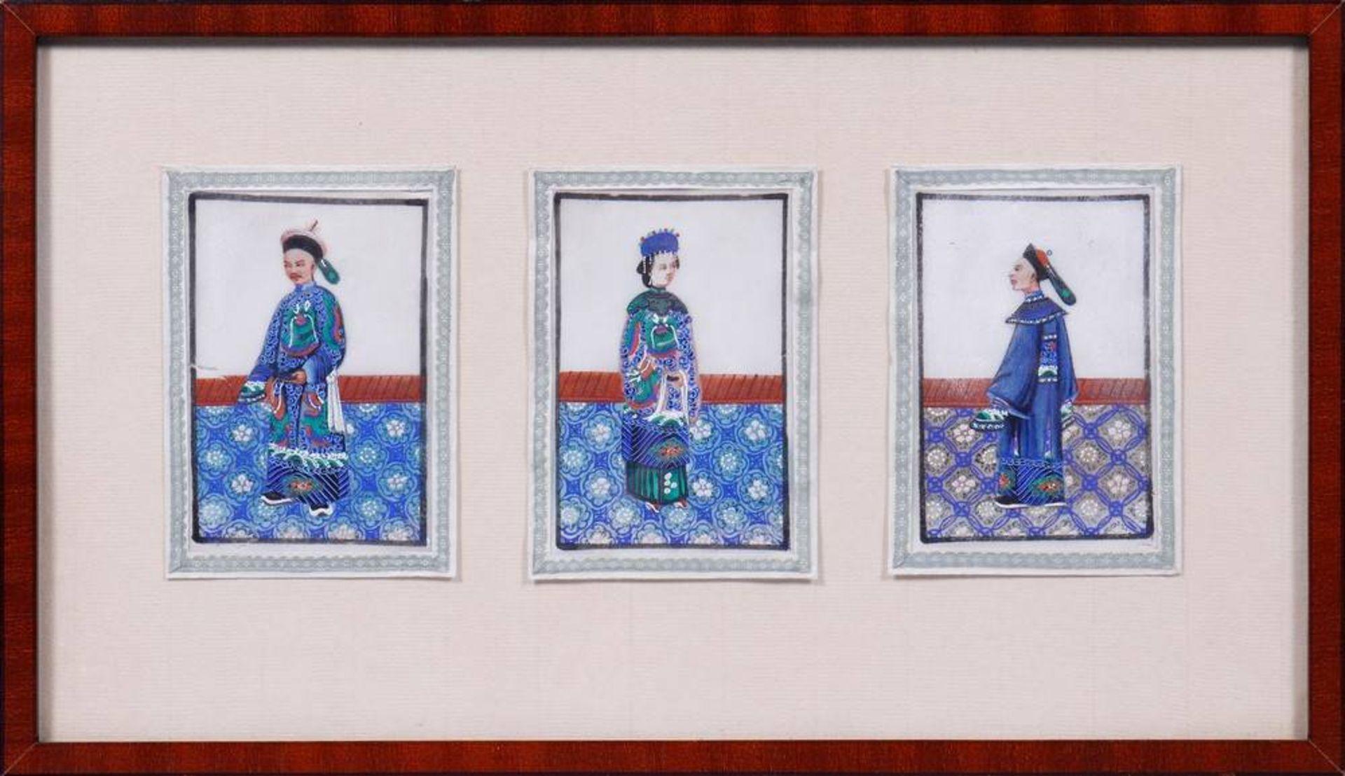 3 kleine Portraits, China, 19.Jh.