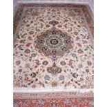 Teppich, Täbriz, Persien, Korkwolle mit Seide auf Baumwolle