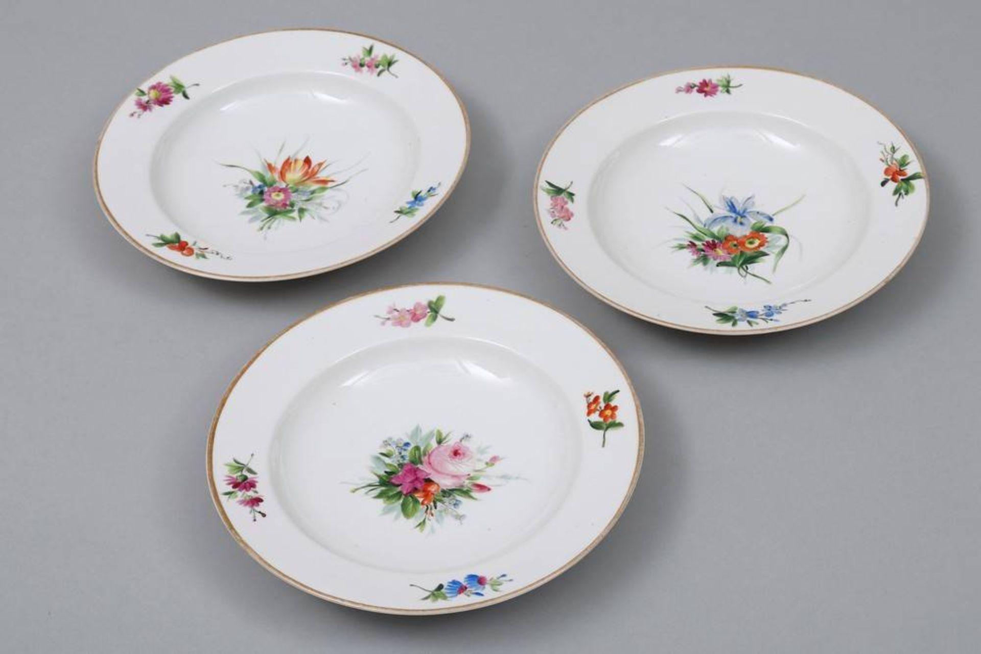 3 Suppenteller, Royal Kopenhagen, 19.Jh. - Image 2 of 4