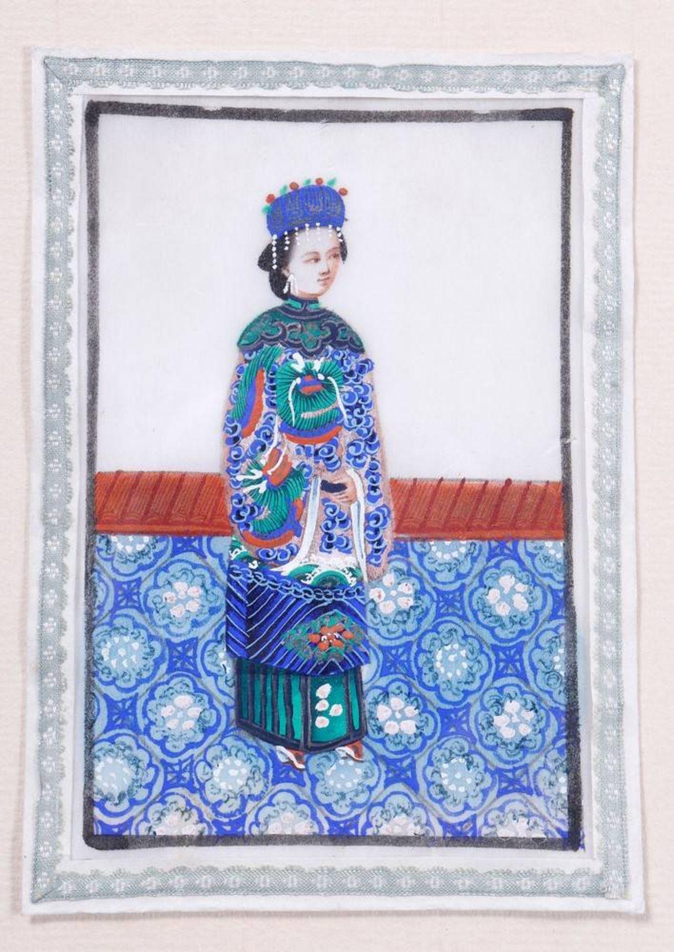3 kleine Portraits, China, 19.Jh. - Image 2 of 2