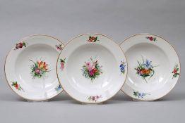 3 Suppenteller, Royal Kopenhagen, 19.Jh.