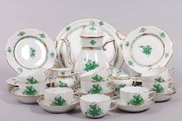 """Coffee service for 9 persons, Herend, Hungary, """"Apponyi green"""" decor, 20th C."""