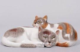 Group of cats, Porzellanmanufaktur Plaue, 20th C.