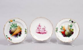 3 small plates, Meissen and others, 18th C.