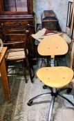 A 20th Century Singer sewing workstation; two pine chairs; office chair (4)