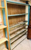 A 20th century painted pine open bookcase. 196cm H x 159cm W x 32cm D