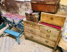 An early 20th century pine chest of drawers;; Workmate; other wooden/metal boxes (5)