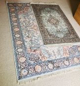 Four 19th/ early 20th Century Kashmir silk rugs. Three with labels (4)