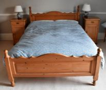 A 20th Century pine bedroom suite, double bed, pair of bedside cabinet, bedroom chair and