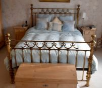 A Victorian style brass and cast iron framed king size bed. 145cm H x 210cm D x 162cm W