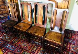 A set of seven similar 18th century and later oak chairs. (7)