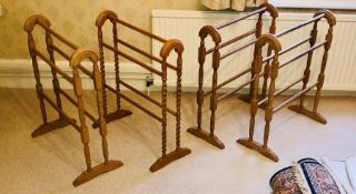 Four 20th Century pine towel rails. (4)