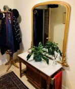 A 20th Century pine marble washstand; a similar coat stand (2)