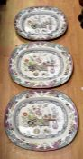 Three mid 19th Century Masons ironstone meat plates *** Provenance: from the Estate of the late