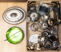 A collection of silver plated items, including teapots, food warmers, cased flat ware, fruit