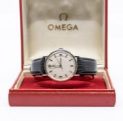 An Omega 1950/60's stainless steel wristwatch, with leather strap and box