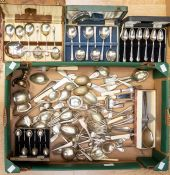 A collection of cased flat wares and loose cutlery