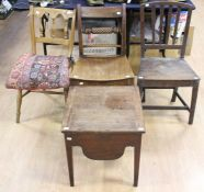 Three various chairs comprising an early 19th Century mahogany rope twist kitchen chair, a