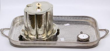 A late Victorian silver plated floral shaped biscuit barrel on stand, ivory pagoda finial with