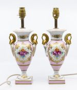 A pair of Limoges table lamps (one is AF), pink and white hand painted flower detail *** Provenance: