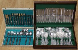 An EPNS Sheffield six piece Old English Pattern with beading flatware service, in fitted canteen