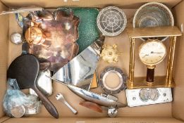 A collection of assorted silver plated items, including a silver collar, napkin rings, clock,