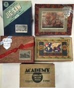 Vintage wooden Jig Saw, three by Academy, Two by Chad Valley. (Unchecked). All in original boxes.