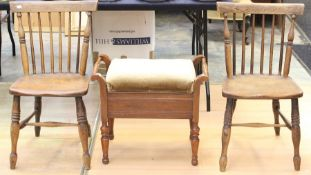 A pair of late 19th Century ash and elm seated Windsor chairs, together with an Edwardian piano