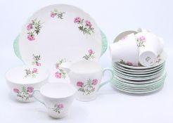 Shelley 1950's tea service, no pot, one tea cup missing