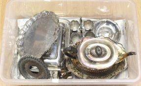 A collection of plate / EPNS / EP to include large teaport, entree dishes, egg cups, salver,