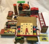 Vintage toys: to include Chad Valley wooden counting clock, two Penguin clockwork boats, Tinplate