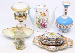 Ceramics - a Shelley coffee pot; Dresden bottle vase; French faience dish and cover and similar