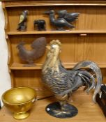 Large tin table cockerel, with two smaller metal birds, bowl, elephant etc *** Provenance: from