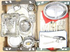 A collection of silver plate, EPNS to include flatware, entree dishes, teapot, horn handled steak