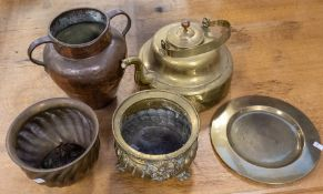 Collection of brass to include: large 19th Century kettle, two jardinieres, circular plate and