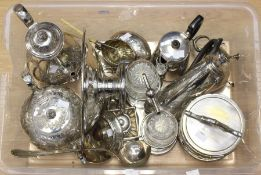 A collection of silver plate/EPNS to include: Elkington & Co sauceboat; a Victorian tea and coffee