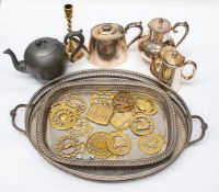 A collection of silver plate including tray