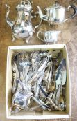 A collection of silver plated items including tea set and cutlery set, loose, Kings pattern