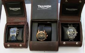 Watches - three Triumph Motocycles gentleman's watches, including one chronometer, boxed (3)
