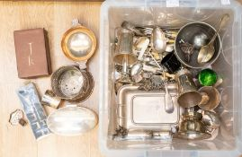 A substantial collection of silver-plated items including wine holders, beakers, food warmers,