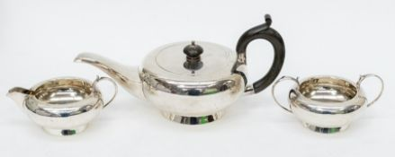 A matched George V silver three piece Batchelor's three piece tea service to include teapot, sugar