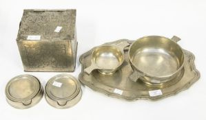 A collection of pewter items: a 19th Century meat dish stamped to reverse; two sets of Marinoni