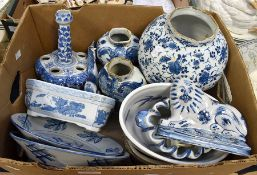 19th Century Delft vases and plates, Chinese blue and white vase, 20th Century blue and white