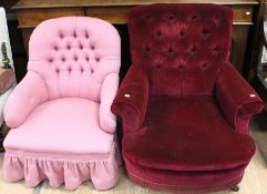 Two Victorian upholstered armchairs, one in purple, 88cm high and the other in bright pink,