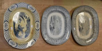Collection of blue and white Copeland Spode meat trays and others *** Provenance: from the Estate of