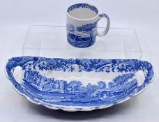 Copeland Spode celery bowl, along with a Spode mug *** Provenance: from the Estate of the late Sir
