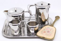 Old Hall stainless tea set on tray with hand mirror