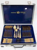 An aluminium cased, ten-piece, gold-plated Bestecke Solingen canteen of cutlery, made in Germany ***