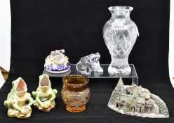 A collection of glass including French glass frog, Royal Crown Derby gold stopper frog